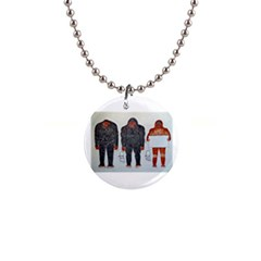 3 Bigfoot, H, A, S, On White, Button Necklace
