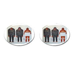 3 Bigfoot, H, A, S, On White, Cufflinks (oval)
