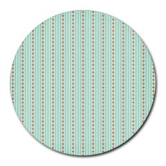 Hearts & Stripes 8  Mouse Pad (round)