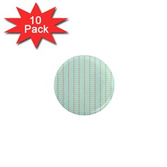 Hearts & Stripes 1  Mini Button Magnet (10 Pack)