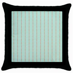 Hearts & Stripes Black Throw Pillow Case