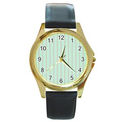 Hearts & Stripes Round Leather Watch (Gold Rim)