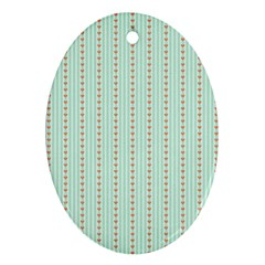 Hearts & Stripes Oval Ornament (Two Sides)
