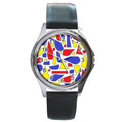 Silly Primaries Round Leather Watch (Silver Rim)