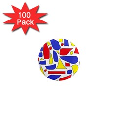 Silly Primaries 1  Mini Button Magnet (100 pack)