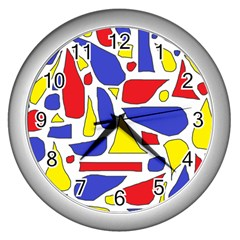 Silly Primaries Wall Clock (Silver)