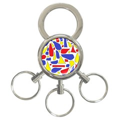 Silly Primaries 3-Ring Key Chain