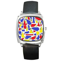 Silly Primaries Square Leather Watch