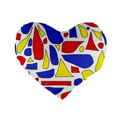 Silly Primaries 16  Premium Heart Shape Cushion