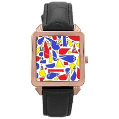 Silly Primaries Rose Gold Leather Watch
