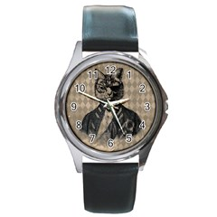 Harlequin Cat Round Leather Watch (Silver Rim)