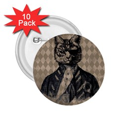 Harlequin Cat 2 25  Button (10 Pack)