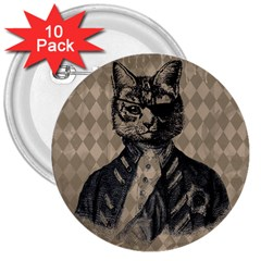 Harlequin Cat 3  Button (10 pack)