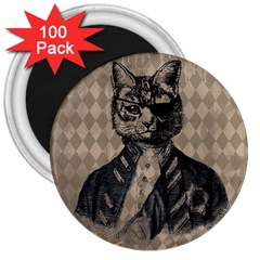 Harlequin Cat 3  Button Magnet (100 pack)