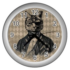 Harlequin Cat Wall Clock (Silver)