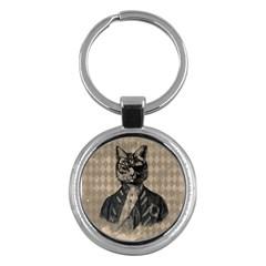 Harlequin Cat Key Chain (Round)