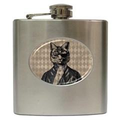 Harlequin Cat Hip Flask