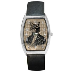 Harlequin Cat Tonneau Leather Watch