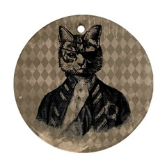 Harlequin Cat Round Ornament (Two Sides)