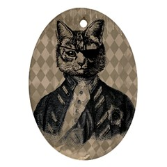 Harlequin Cat Oval Ornament (Two Sides)
