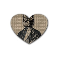 Harlequin Cat Drink Coasters 4 Pack (Heart)