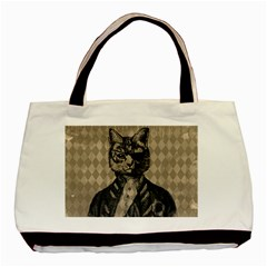 Harlequin Cat Twin Sided Black Tote Bag