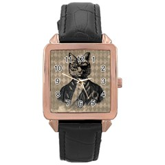 Harlequin Cat Rose Gold Leather Watch