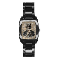 Harlequin Cat Stainless Steel Barrel Watch