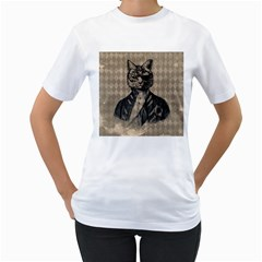 Harlequin Cat Women s T-Shirt (White)