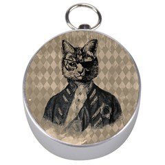 Harlequin Cat Silver Compass