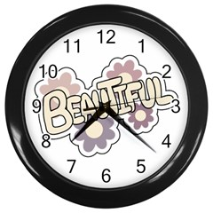 Beautiful Floral Art Wall Clock (Black)