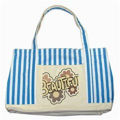Beautiful Floral Art Blue Striped Tote Bag