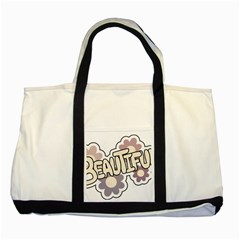 Beautiful Floral Art Two Toned Tote Bag