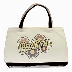 Beautiful Floral Art Twin Sided Black Tote Bag