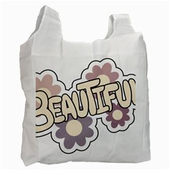 Beautiful Floral Art White Reusable Bag (One Side)