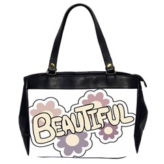 Beautiful Floral Art Oversize Office Handbag (Two Sides)
