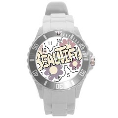 Beautiful Floral Art Plastic Sport Watch (Large)