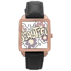 Beautiful Floral Art Rose Gold Leather Watch