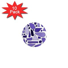 Silly Purples 1  Mini Button Magnet (10 pack)