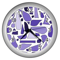 Silly Purples Wall Clock (Silver)