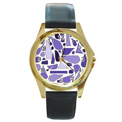 Silly Purples Round Leather Watch (gold Rim)