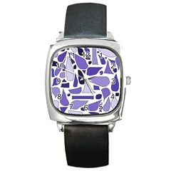 Silly Purples Square Leather Watch