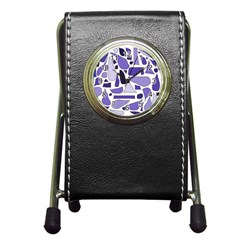 Silly Purples Stationery Holder Clock