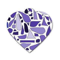 Silly Purples Dog Tag Heart (two Sided)