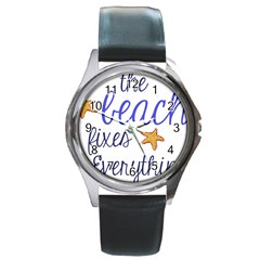The Beach Fixes Everything Round Leather Watch (silver Rim)