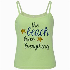 The Beach Fixes Everything Green Spaghetti Tank