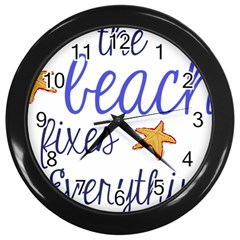 The Beach Fixes Everything Wall Clock (Black)
