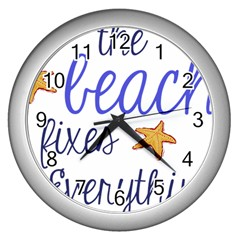 The Beach Fixes Everything Wall Clock (Silver)