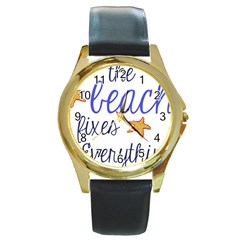 The Beach Fixes Everything Round Leather Watch (Gold Rim)