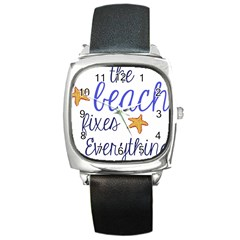 The Beach Fixes Everything Square Leather Watch